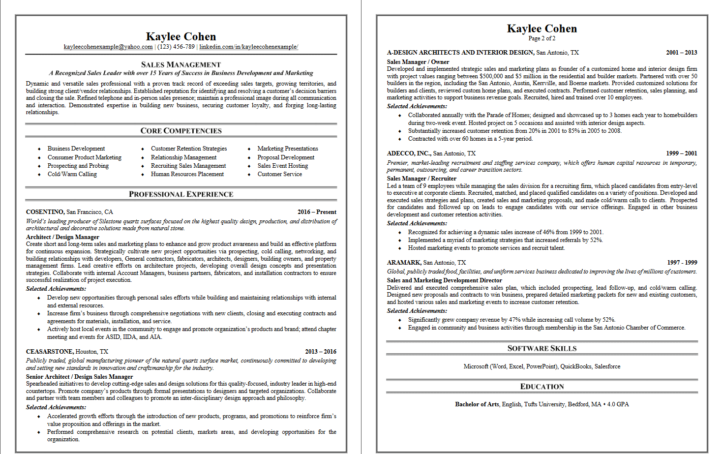 two page resume